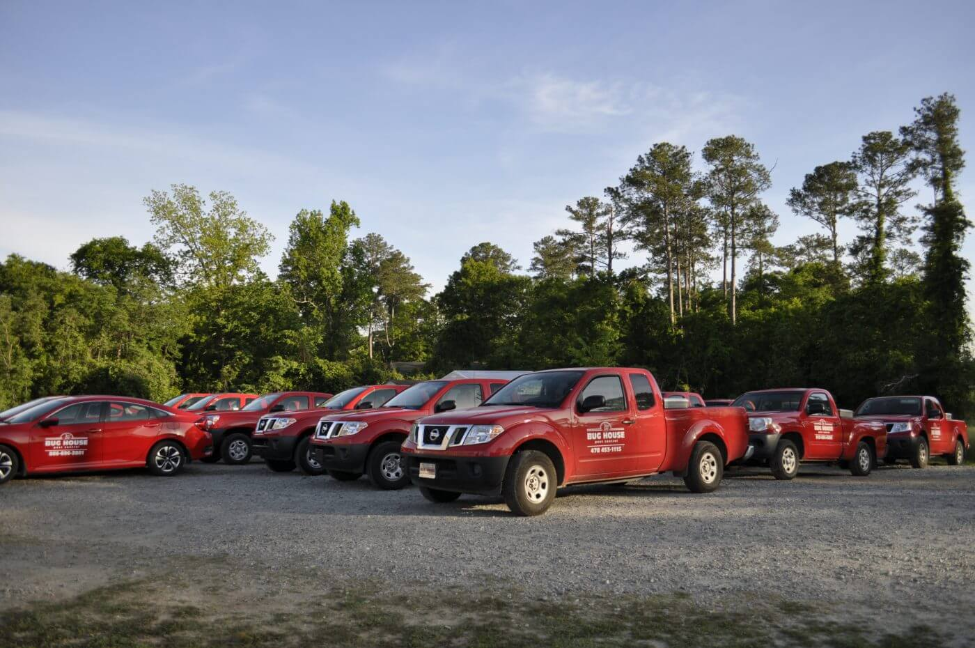 Bug House Milledgeville company vehicles lined up